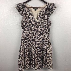 Cynthia Steffe Silk V Neck Ruffled Abstract Dress